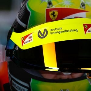 Mick Schumacher 2020 visor wall picture with original helmet visor 2020