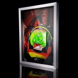 Mick Schumacher 2020 picture with handpainted carbon plate helmet 2020