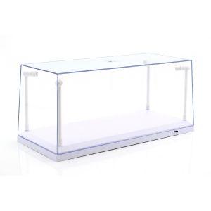 Una sola vitrina blanco con 4 lámparas LED móviles para la escala 1/18