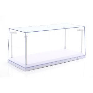 Vetrina singola bianco con 4 lampade a LED mobili per scala 1/18