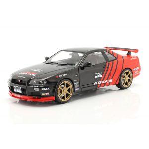 Nissan Skyline GT-R (R34) Advan Drift Año de fabricación 1999 negro / rojo 1/18