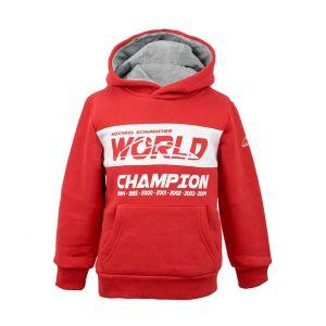 Felpa con cappuccio per bambini Michael Schumacher Campione del mondo rossa