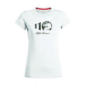 Alfa Romeo Lifestyle 110 T-shirt pour Dames Metallic blanche
