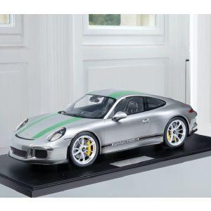 Porsche 911 (991.1) R - 2016 - argent / vert décor 1/8
