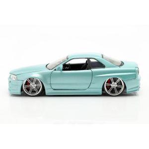 Fast & Furious Brian`s Nissan Skyline GT-R 1999 hellgrün metallic 1:24