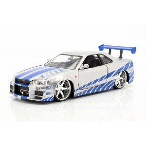 Fast & Furious Brian`s Nissan Skyline GT-R (R34) argent/bleu 1/24