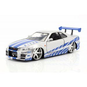 Fast & Furious Brian`s Nissan Skyline GT-R (R34) plata/azul 1/24