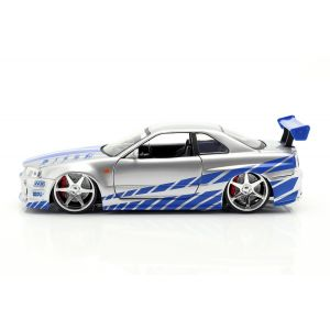 Fast & Furious Brian`s Nissan Skyline GT-R (R34) silber/blau 1:24