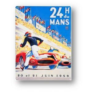 24h de course au Mans Tole Imprimee Affiche 1959