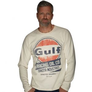 Gulf Camiseta de manga larga Oil Racing crema