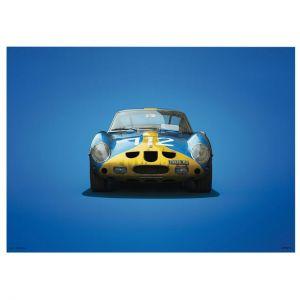 Poster Ferrari 250 GTO - Blau - Targa Florio - 1964 - Colors of Speed