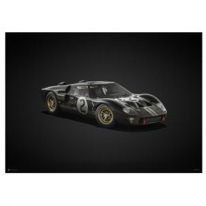 Poster Ford GT40 - Black - 24h Le Mans - 1966 - Colors of Speed