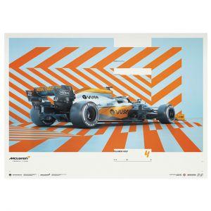 Affiche McLaren Gulf Formel 1 Edition 1 - Lando Norris 2021 - Limited Edition