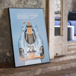 Affiche 24h de course au Mans - Porsche 917 - Gulf
