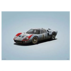Poster Ford GT40 - Blue - 24h Le Mans - 1966 - Colors of Speed