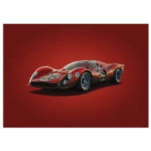 Poster Ferrari 412P - Red - Daytona - 1967 - Colors of Speed