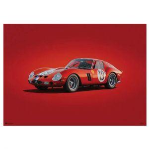 Cartel Ferrari 250 GTO - Rojo - 24h Le Mans - 1962 - Colors of Speed