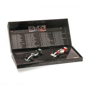Coffret de voitures miniatures Ayrton Senna - Lewis Hamilton 41 victoires 1/43