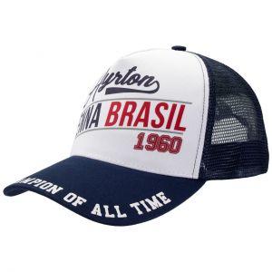Ayrton Senna Cap ASV-17-040 Original 1960 Born in Brasil front Blau