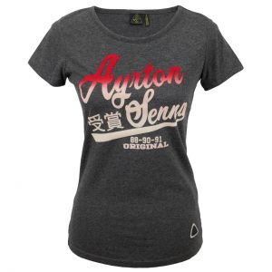 Ayrton Senna Ladies T-Shirt Vintage Grey