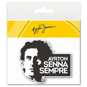 Ayrton Senna Sticker Sempre 3D EPOXY black-white