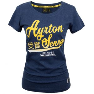 Ayrton Senna Ladies T-Shirt Vintage Blue