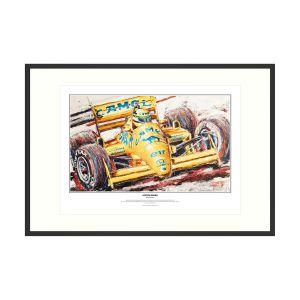 Ayrton Senna impressão de arte Lotus 1987 por Armin Flossdorf