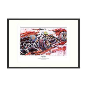 Ayrton Senna impressão de arte Lotus 1986 por Armin Flossdorf