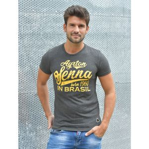 Ayrton Senna T-Shirt Born in Brasil grey