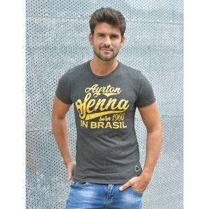 Ayrton Senna T-Shirt Born in Brasil grey