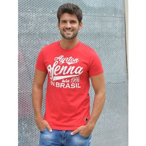 Ayrton Senna T-Shirt Born in Brasil red