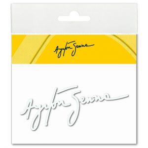 Ayrton Senna Aufkleber Signatur 3D EPOXY weiß
