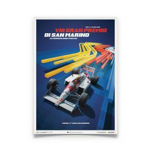 Ayrton Senna San Marino Poster McLaren MP4/4