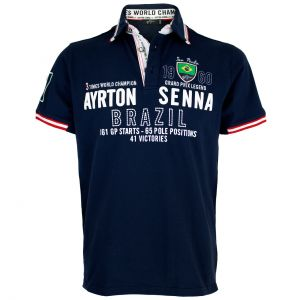 Ayrton Senna Polo-Shirt Brazil 3 times World Champion