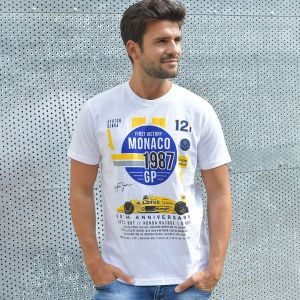 Ayrton Senna T-Shirt Monaco 1st Victory 1987 weiß