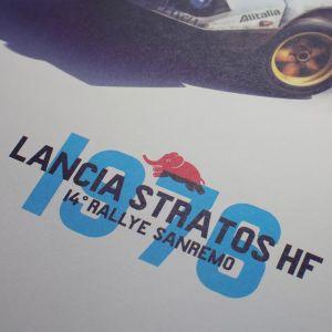 Lancia Stratos HF Poster - bianco - Alitalia - Sanremo - 1976