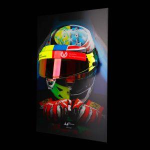 Mick Schumacher Visierwandbild mit original Helmvisier 2017