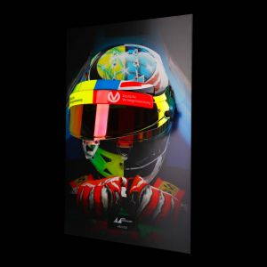 Mick Schumacher visor wall picture with original helmet visor 2017