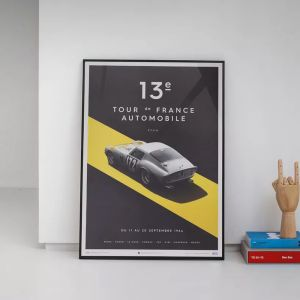 Poster Ferrari 250 GTO - Argento - Tour de France - 1964