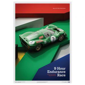 Poster Ferrari 412P - Green - Kyalami 9 Hour - 1967
