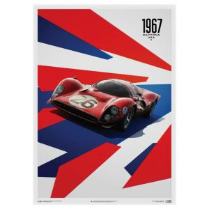 Poster Ferrari 412P - Red - 24 Hours of Daytona - 1967