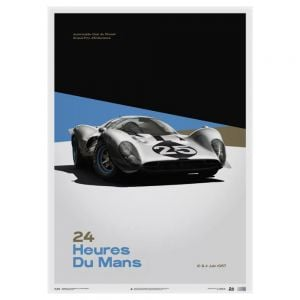 Poster Ferrari 412P - White - 24 hours of Le mans - 1967
