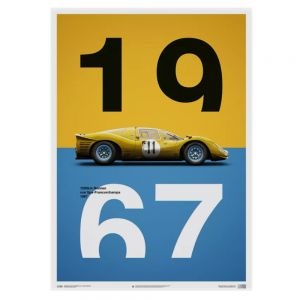 Poster Ferrari 412P - Yellow - Spa-Francorchamps - 1967
