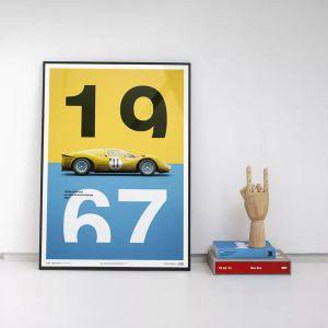Poster Ferrari 412P - Gelb - Spa-Francorchamps - 1967