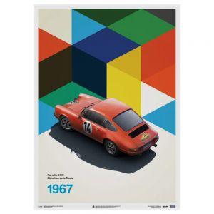 Cartel Porsche 911R - Marathon de la Route - 1967