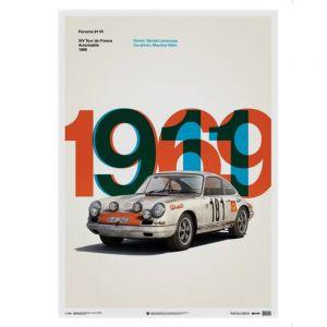 Affiche Porsche 911R - Tour de France - 1969