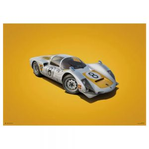 Cartel Porsche 906 - blanco - GP de Japón - 1967 - Colors of Speed