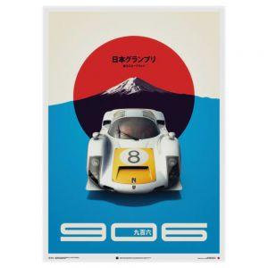 Cartel del Porsche 906 - blanco - GP de Japón - 1967