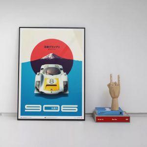 Poster Porsche 906 - weiß - Japan GP - 1967