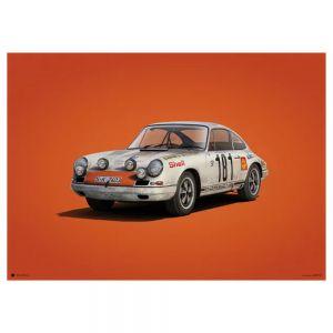 Poster Porsche 911R - bianco - Tour de France 1969 - Colors of Speed